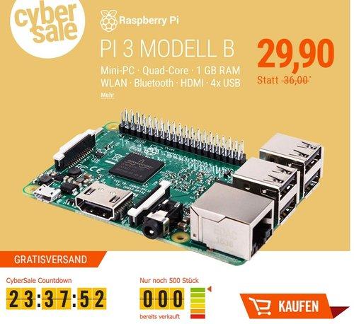Raspberry Pi 3 Modell B 1 GB - jetzt 9% billiger