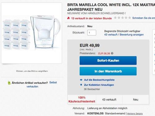 Brita Wasserfilter Jahrespaket Marella, inkl. 12 Maxtra+ Filterkartuschen - jetzt 12% billiger