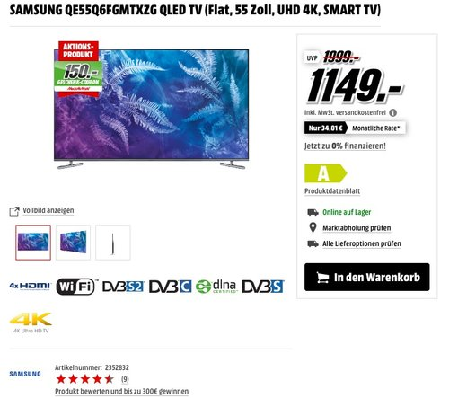 Samsung QE55Q6F 55 Zoll QLED-Fernseher - jetzt 26% billiger