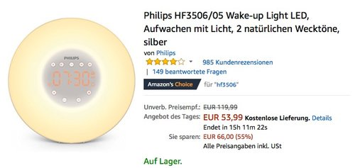 Philips HF3506/05 Wake-up Light - jetzt 34% billiger
