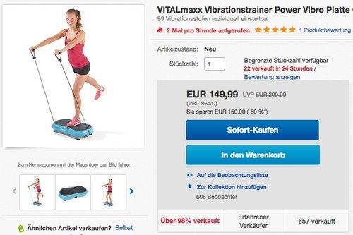 VITALmaxx Vibrationstrainer Power Vibro Platte  - jetzt 8% billiger