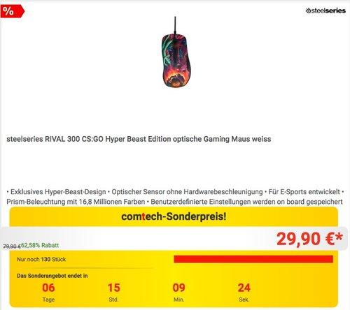 steelseries RIVAL 300 CS:GO Hyper Beast Edition optische Gaming Maus - jetzt 35% billiger