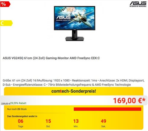 ASUS VG245Q 61cm (24 Zoll) Gaming-Monitor AMD FreeSync  - jetzt 11% billiger