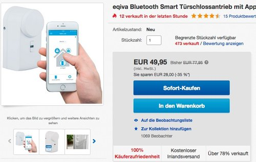 Eqiva Bluetooth Smart Türschlossantrieb - jetzt 10% billiger