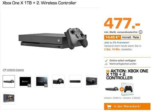 Xbox One X 1TB + 2. Wireless Controller - jetzt 9% billiger