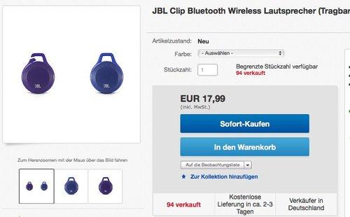 JBL Clip Bluetooth Wireless Lautsprecher - jetzt 28% billiger