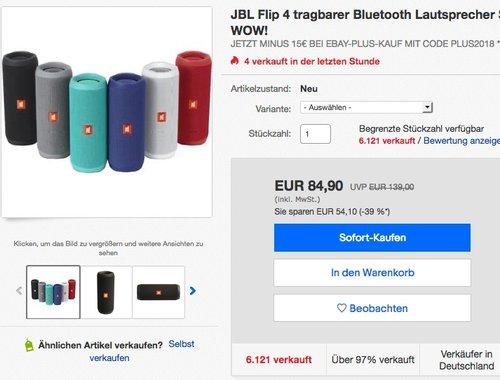 JBL Flip 4 tragbarer Bluetooth Lautsprecher - jetzt 13% billiger