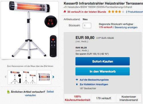 Kesser® Infrarotstrahler 2500W - jetzt 24% billiger