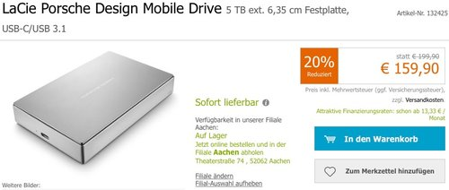 LaCie Porsche Design Mobile Drive 5 TB externe Festplatte - jetzt 9% billiger
