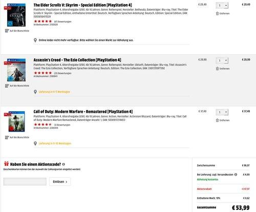 MediaMarkt- 3 Spiele für 49€- Aktion - jetzt 45% billiger