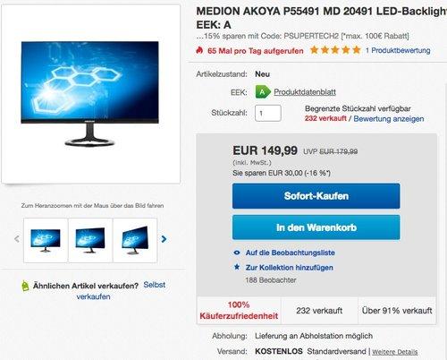 "MEDION AKOYA MD 20491 23,6"" Monitor - jetzt 15% billiger"