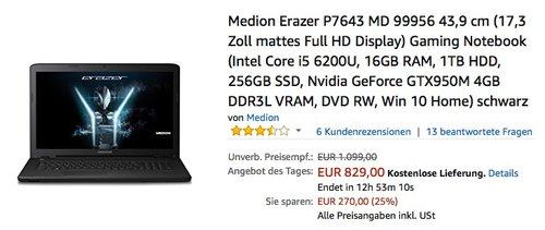 Medion Erazer P7643 17,3 Zoll Gaming Notebook - jetzt 9% billiger