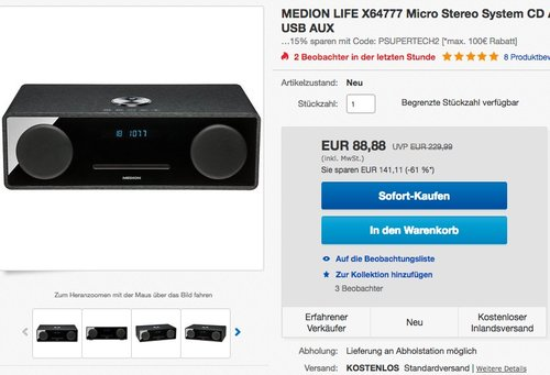 MEDION LIFE X64777 Micro Stereo System CD Anlage - jetzt 37% billiger