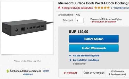 Microsoft Surface Book Pro 3 4 Dock Docking Station - jetzt 11% billiger