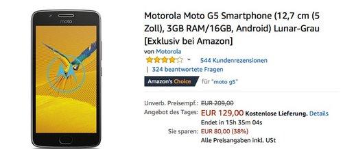 Motorola Moto G5 Smartphone - jetzt 10% billiger