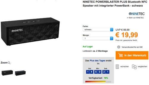 NINETEC POWERBLASTER PLUS Bluetooth NFC Speaker  - jetzt 29% billiger