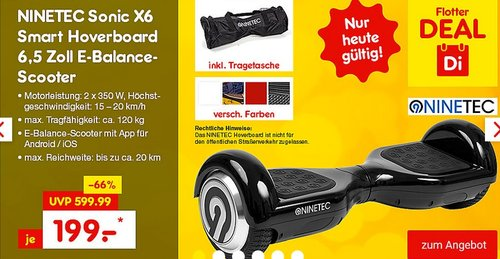 NINETEC Sonic X6 Smart Hoverboard 6,5 Zoll - jetzt 20% billiger