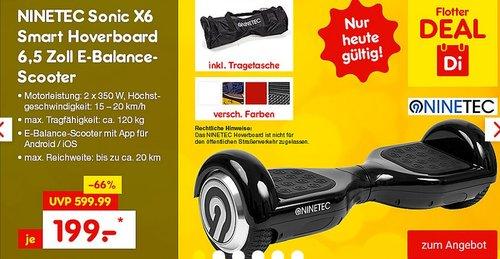 NINETEC Sonic X6 Smart Hoverboard 6,5 Zoll - jetzt 20% billiger