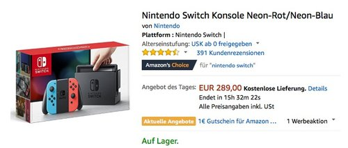 Nintendo Switch Konsole - jetzt 9% billiger