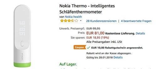 Nokia Thermo - Intelligentes Schläfenthermometer  - jetzt 25% billiger