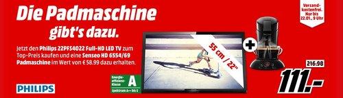 PHILIPS 22PFS4022 LED TV (Flat, 22 Zoll, Full-HD) plus PHILIPS SENSEO HD6554/69 Volks-Senseo Padmaschine - jetzt 31% billiger
