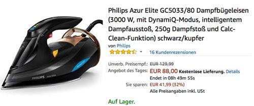 Philips Azur Elite GC5033/80 Dampfbügeleisen - jetzt 16% billiger