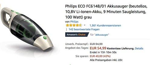 Philips ECO FC6148/01 Akkusauger - jetzt 20% billiger