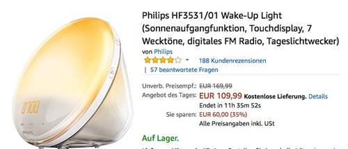 Philips HF3531/01 Wake-Up Light Wecker - jetzt 8% billiger