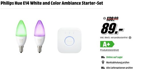 Philips Hue E14 White and Color Ambiance Starter-Set  - jetzt 32% billiger