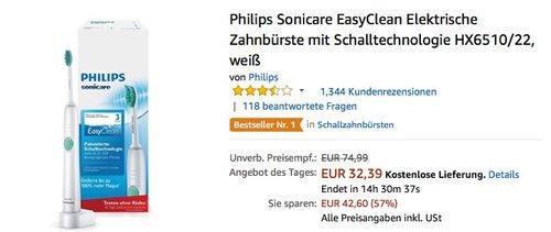 Philips Sonicare EasyClean Elektrische Zahnbürste mit Schalltechnologie HX6510/22 - jetzt 16% billiger