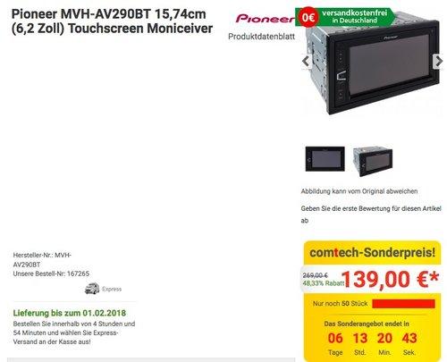 Pioneer MVH- AV290BT 6,2 Zoll Autoradio - jetzt 7% billiger