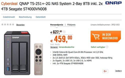 QNAP TS-251+-2G NAS System 2-Bay 8TB - jetzt 20% billiger