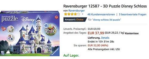 Ravensburger 12587 - 3D Puzzle Disney Schloss - jetzt 16% billiger