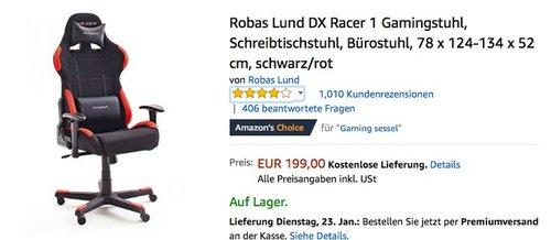 Robas Lund DX Racer 1 Gamingstuhl - jetzt 28% billiger