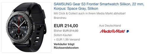SAMSUNG Gear S3 Frontier Smartwatch - jetzt 30% billiger