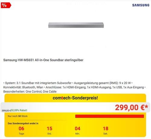 Samsung HW-MS651 Soundbar - jetzt 14% billiger