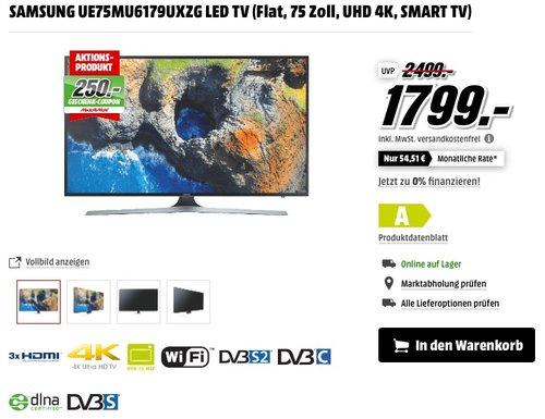 Samsung MU6179 189 cm (75 Zoll) Fernseher + Samsung HW-M450/ZG 2.1 Lautsprechersystem Soundbar - jetzt 11% billiger