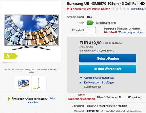 Samsung UE43M5670AUXZG 43 Zoll Smart TV - jetzt 12% billiger