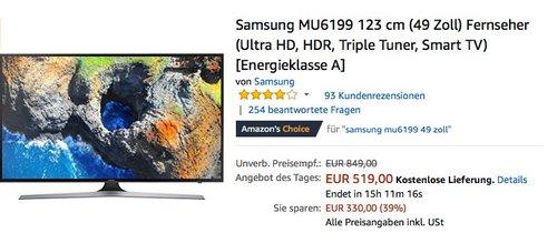 Samsung UE49MU6199 49 Zoll 4K Fernseher - jetzt 11% billiger