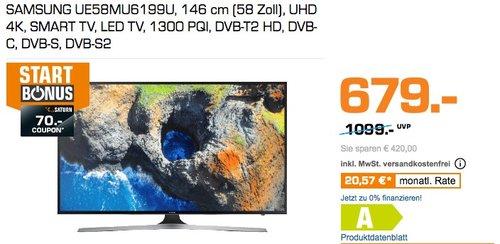 SAMSUNG UE58MU6199 58 Zoll UHD 4K LED TV - jetzt 21% billiger