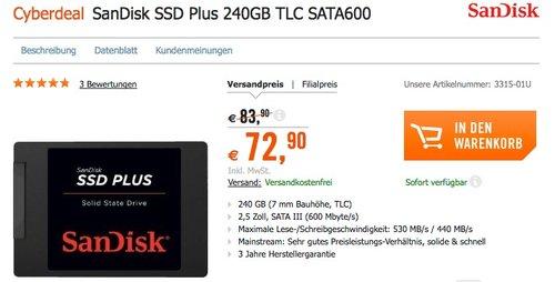 SanDisk SSD PLUS 240GB 2,5 Zoll Interne SSD Festplatte - jetzt 9% billiger