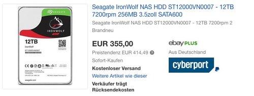 Seagate IronWolf ST12000VN0007 12 TB interne Festplatte - jetzt 10% billiger