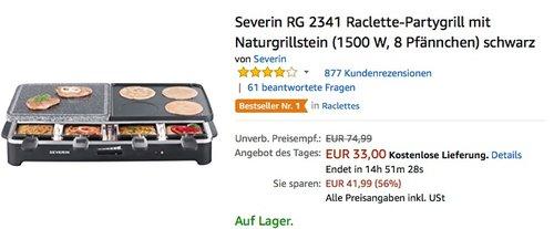 Severin RG 2341 Raclette-Partygrill mit Naturgrillstein  - jetzt 17% billiger