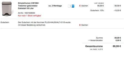 SimpleHuman CW1884 Treteimer Edelstahl 30 Liter - jetzt 10% billiger