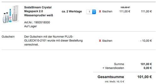 SodaStream CRYSTAL 2.0 Wassersprudler Weiß - jetzt 22% billiger
