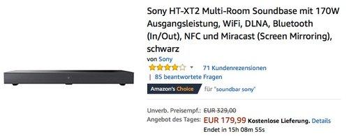 Sony HT-XT2 Soundbase - jetzt 21% billiger