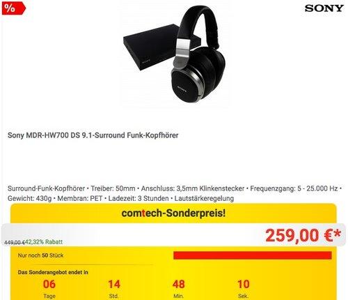 Sony MDR-HW700DS 9.1 Digital Surroundsystem Kopfhörer - jetzt 13% billiger