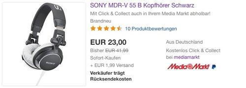 SONY MDR-V 55 B Kopfhörer - jetzt 23% billiger