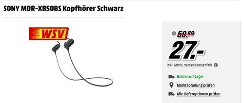 SONY MDR-XB50BS Kopfhörer schwarz - jetzt 46% billiger