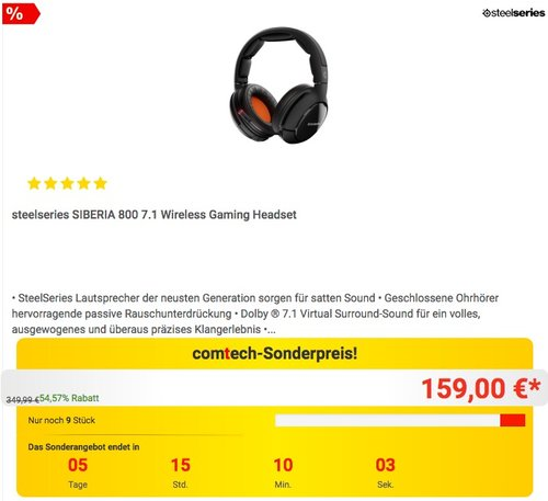 steelseries SIBERIA 800 7.1 Wireless Gaming Headset - jetzt 27% billiger